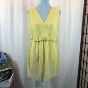 Zara Woman Sheer Overlay Dress Chiffon Yellow, L